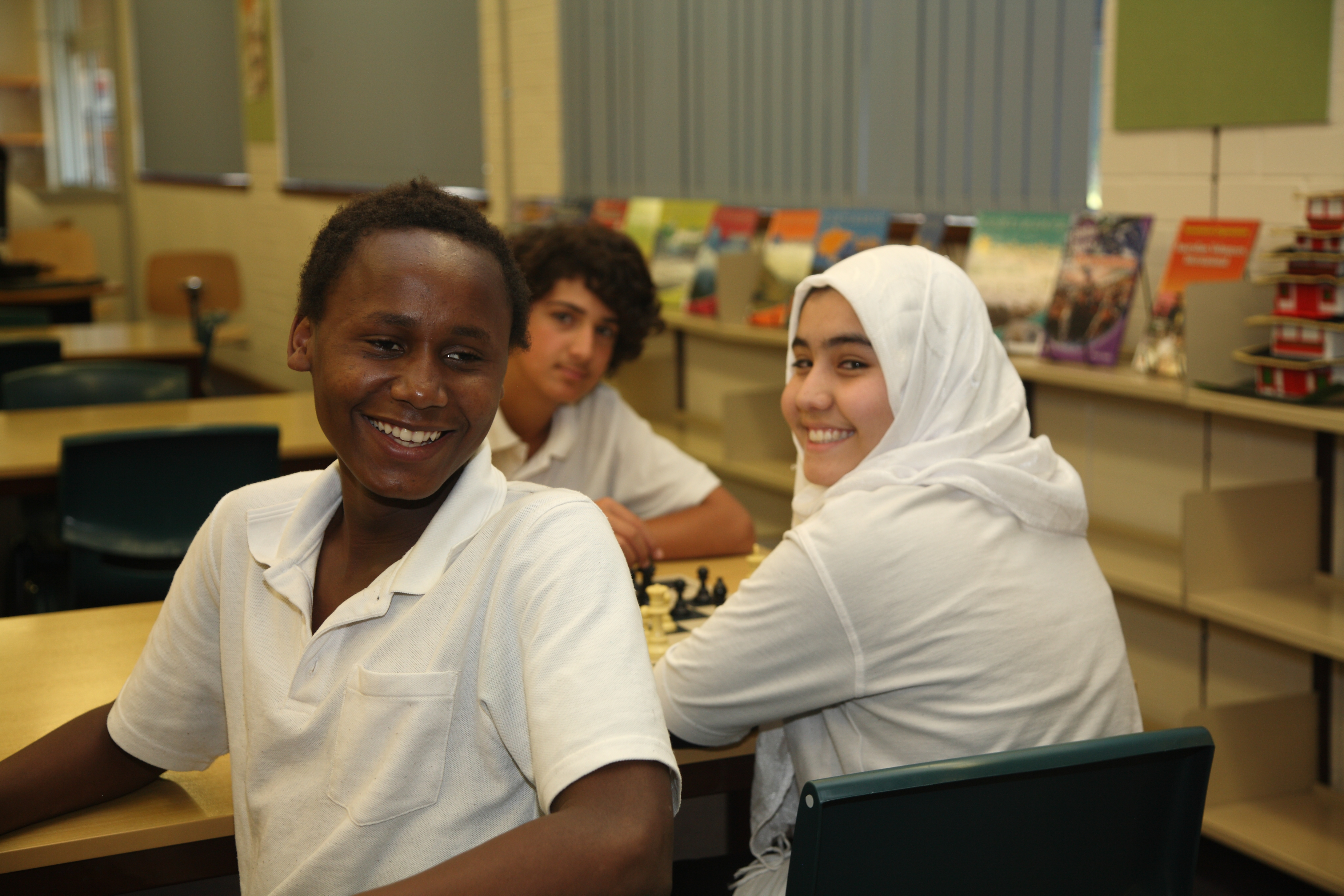 Students from the Intensive English Centre engaging in a game of Chess.